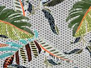 RESTSTÜCK 1,34m Viskose Stoff tropische Blätter Blümchen, grün ecrue