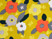 RESTSTÜCK  94 cm Sweatstoff Retroblumen, grau senfgelb