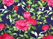 Viskose Stoff große Blumen Blätter, pink dunkelblau