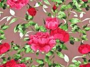 Viskose Stoff große Blumen Blätter, pink braun