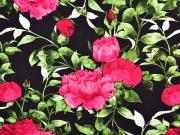 Viskose Stoff große Blumen Blätter, pink schwarz