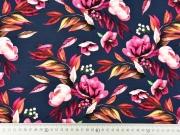 Jerseystoff Blumen Blätter Zweige, rosa pink dunkelblau