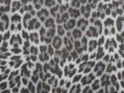 RESTSTÜCK 97 cm Wildlederimitat kleines Leomuster, grau
