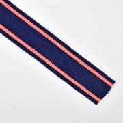 Webband Streifen 25 mm, neonorange dunkelblau