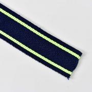 Webband Streifen 25 mm, neongelb dunkelblau