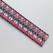 Gurtband Ethno Zickzack Streifen 38mm, rosa beige navy