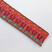 Gurtband Ethno Zickzack Streifen 38mm, orange pink weinrot mint