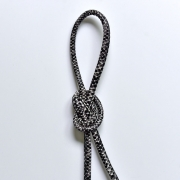 Kordel Schlangenmuster Lederimitat, grau schwarz
