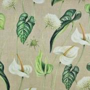 Canvas Stoff tropische Blumen Blätter Digitaldruck, grün beige