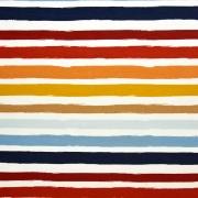 Sweatstoff French Terry Streifen 2 cm, blau orange gelb