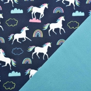 Softshellstoff Einhörner Regenbogen,dunkelblau