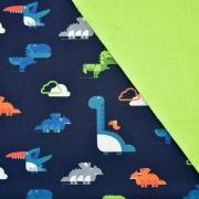Softshell Stoff Dinosaurier, dunkelblau