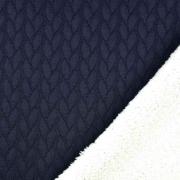 Jacquard Jerseystoff Zopfstrick Teddyfleece, weiß dunkelblau