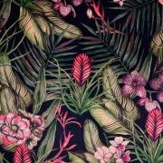 Dekosamt Velourstoff tropische Blumen Blätter, grün beere schwarz