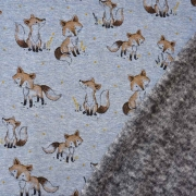Sweatstoff Alpenfleece Füchse, hellbraun jeansblau meliert