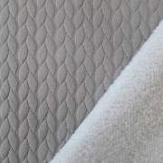 Jacquard Jerseystoff Zopfstrick Teddyfleece, weiß taupe