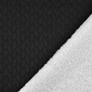Jacquard Jerseystoff Zopfstrick Teddyfleece, weiß schwarz