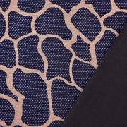 Jerseystoff Giraffenmuster Punkte, hellbraun dunkelblau