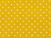 Baumwollstoff kleine Punkte beschichtet Petite Dots, weiß ockergelb