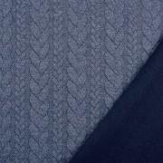 Jacquardjersey Stoff Zopfmuster, dunkelblaugrau meliert