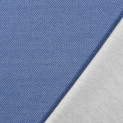 Jacquard Sweatstoff Drizzle Kästchenmuster, weiß jeansblau