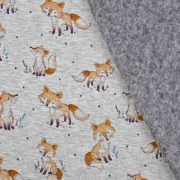 Sweatstoff Alpenfleece Füchse, hellbraun grau meliert