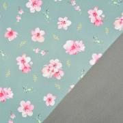 Softshell Stoff Kirschblüten, rosa pink mintgrün