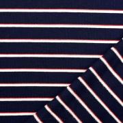Sweatstoff French Terry schmale Streifen, rot weiß dunkelblau
