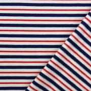 Sweatstoff French Terry Streifen, rot weiß dunkelblau