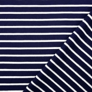 Sweatstoff French Terry Streifen, weiß dunkelblau