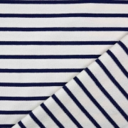 Sweatstoff French Terry Streifen, dunkelblau cremeweiß