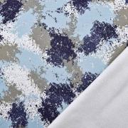 Sweatstoff Farbflecken Farbkleckse, dunkelblau grau hellblau