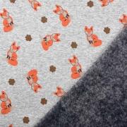 Sweatstoff Alpenfleece Füchse, orangebraun grau meliert