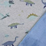 Sweatstoff Alpenfleece Dinos, jeansblau