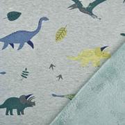 Sweatstoff Alpenfleece Dinos, mintgrün