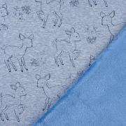 Sweatstoff Alpenfleece Rehe Kontur, jeansblau meliert