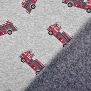 Sweatstoff Alpenfleece Feuerwehr, rot grau meliert