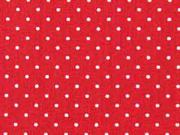Baumwollstoff kleine Punkte beschichtet Petite Dots, weiß rot