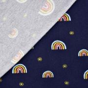 Soft Sweatstoff Regenbogen Blümchen GOTS, dunkelblau