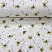 Sweatstoff Alpenfleece Pusteblume, ockergelb grau meliert