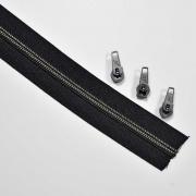 endlos Reißverschluss metallisiert GUNMETAL 5 mm Spirale + 3 Schieber, schwarz