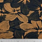 Viskosejersey große Blumen, camel schwarz