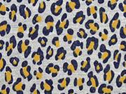 RESTSTÜCK 111 cm French Terry Sweat Leopardenmuster silber Glitzer, ocker grau melange