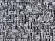 RESTSTÜCK  147 cm Jacquard Jersey grafisches Muster, ecrue schwarz
