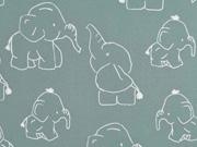 RESTSTÜCK 66 cm Softshell Stoff Elefanten, weiss mint