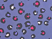 RESTSTÜCK 94 cm Softshell Stoff Leomuster, schwarz pink jeansblau