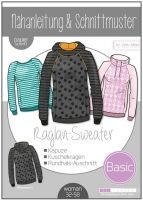 Schnittmuster Raglan Sweater Damen ki-ba-doo
