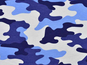 RESTSTÜCK 1,5 m Sweatstoff Camouflage, Blautöne