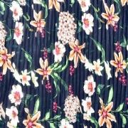 RESTSTÜCK 85 cm Plissee Stoff Chiffon Blumen, dunkelblau