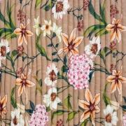 Plissee Stoff Chiffon Blumen, hellbraun